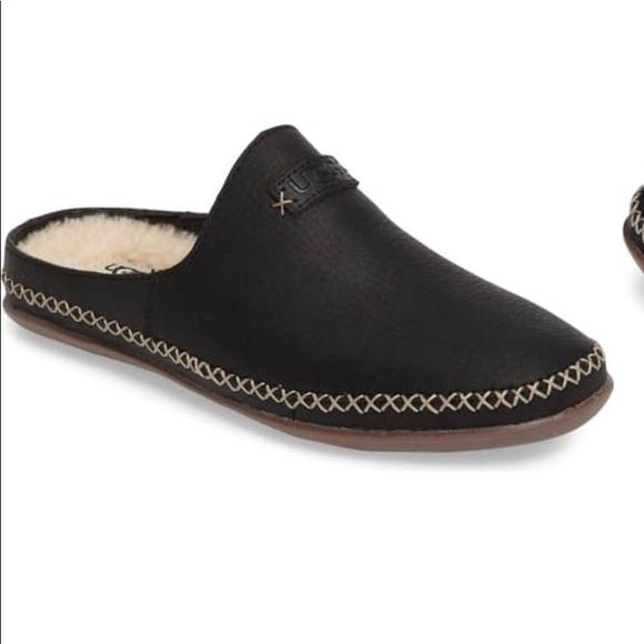 d466282d872 UGG Tamara black leather slippers NWT